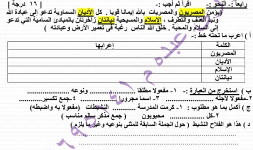 امتحان لغة عربية للصف الخامس الابتدائي الفصل الدراسي الثاني 2019 بنظام البوكليت 24168