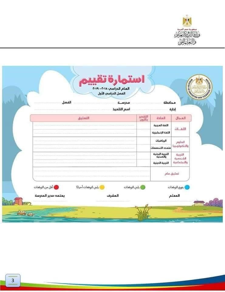 دليل المعلم لتعبئة استمارة التقييم للصف الأول الابتدائي نظام جديد 2509