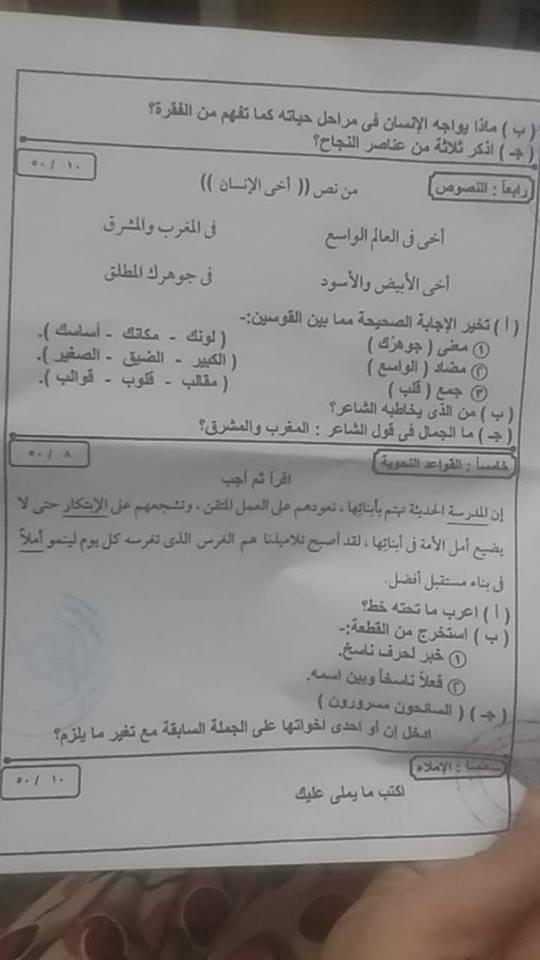 امتحان اللغة العربية للصف السادس الابتدائي ترم أول 2019 محافظة الاسماعيلية 2664