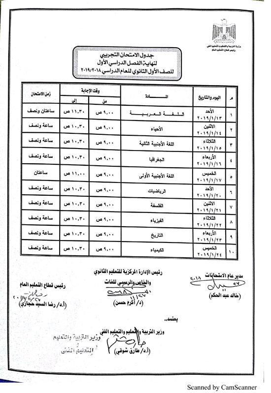 بالمستندات.. التعليم تحدد عدد أوراق اسئلة امتحانات أولى ثانوي الخاصة بكل مادة 2694