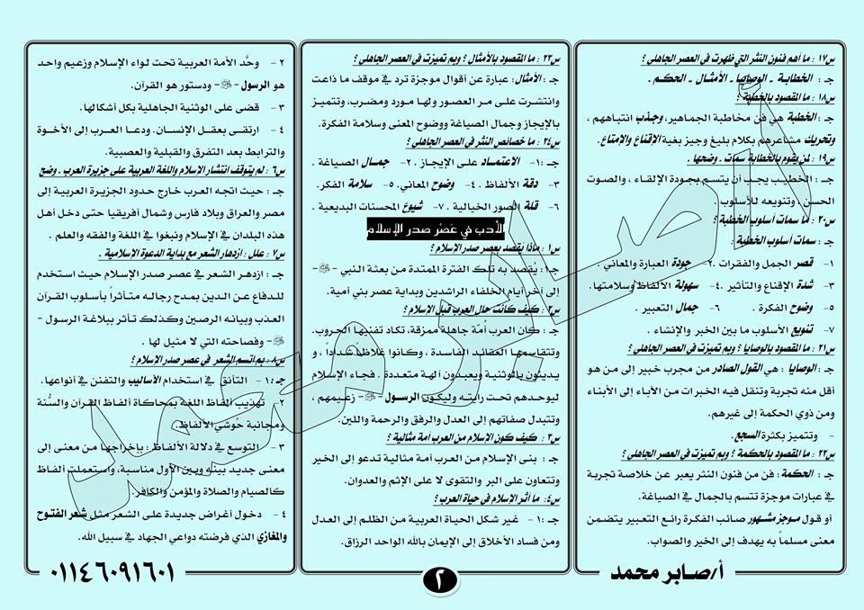 لطلاب أول الثانوي.. 4 ورقات فقط بهم 50% من امتحان اللغة العربية النظام الجديد أدب و نحو 2701