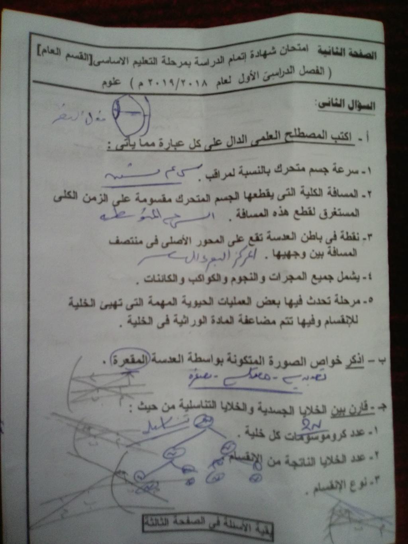 امتحان العلوم للصف الثالث الاعدادي ترم أول 2019 محافظة شمال سيناء 2716