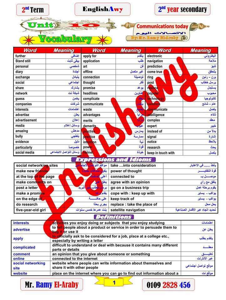أول مذكرة لغة انجليزية للصف الاول الثانوي ترم ثاني نظام جديد أ/ رامي العربي