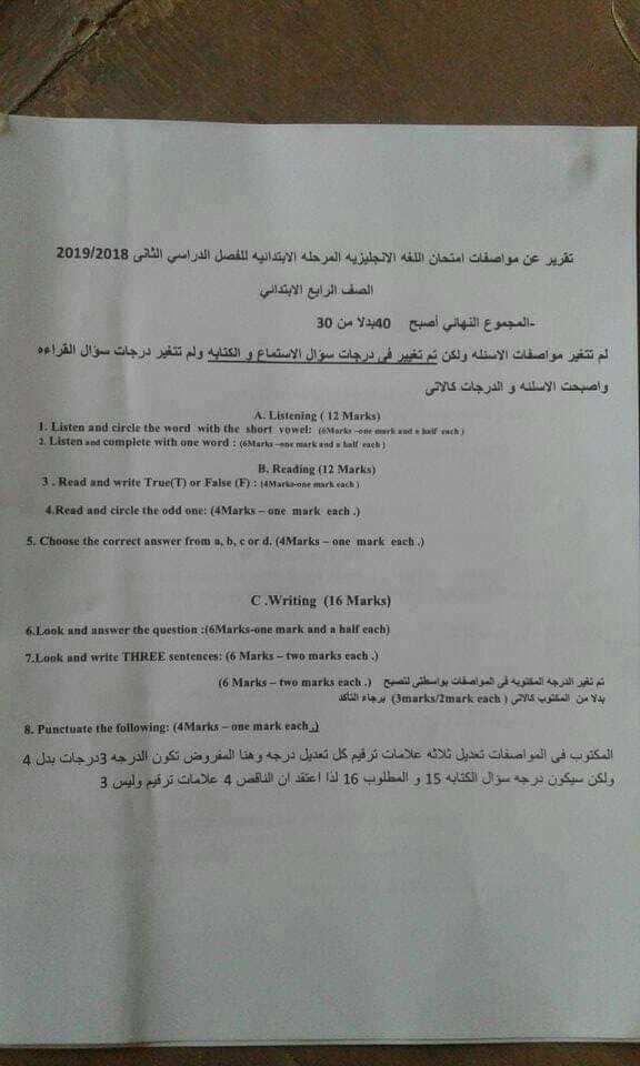 """عاجل.. تعديل مواصفات امتحانات اللغة الانجليزية للصفوف الابتدائية """"مستند"""" 2864"""