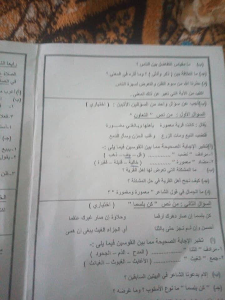 امتحان اللغة العربية للصف الأول الاعدادي ترم ثاني 2019 محافظة شمال سيناء 2925