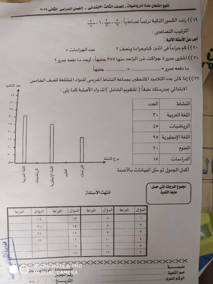 امتحان الرياضيات للصف الثالث الابتدائي ترم ثاني 2019 ادارة الخانكة التعليمية 2931