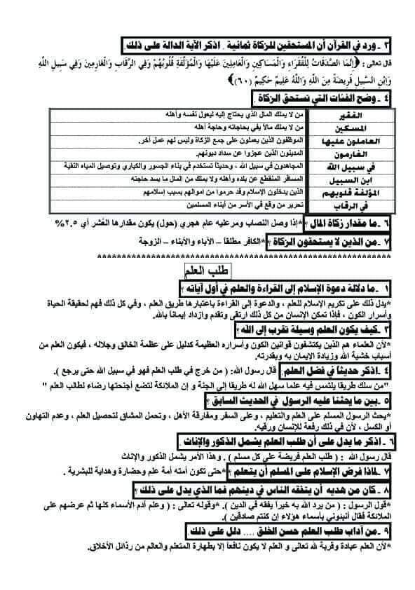 مراجعة التربية الإسلامية للصف الأول الثانوي ترم ثاني في 5 ورقات 2932