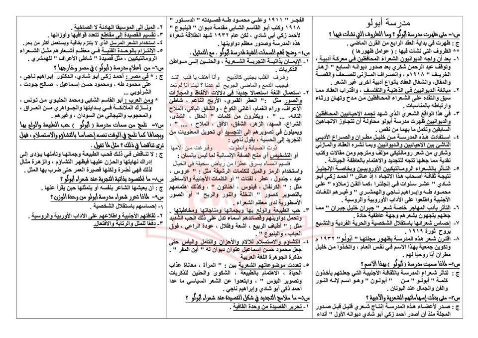 تجميع لمراجعات و امتحانات اللغة العربية للصف الثالث الثانوى  للتدريب و الطباعة 2021 31158