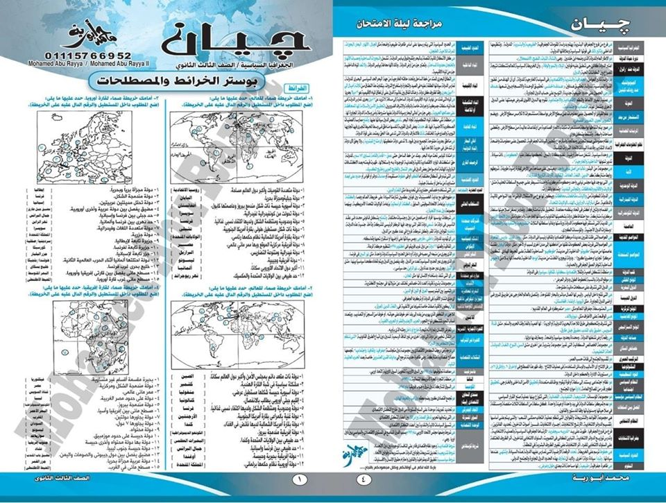مراجعة خرائط ومصطلحات الجغرافيا للثانوية العامة أ/ محمد أبو راية  31182