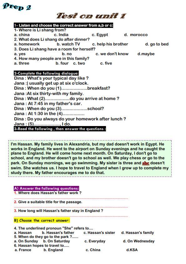 لغة انجليزية: امتحان الوحدة الاولى للمرحلة الاعدادية (الاول والثانى والثالث) 2021 31218