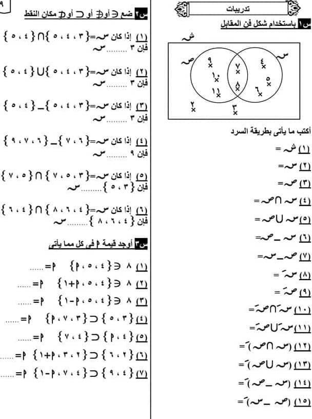 مراجعة علي المجموعات والهندسة رياضيات الصف الخامس الابتدائي  ا. داليا عبد المنعم 31417