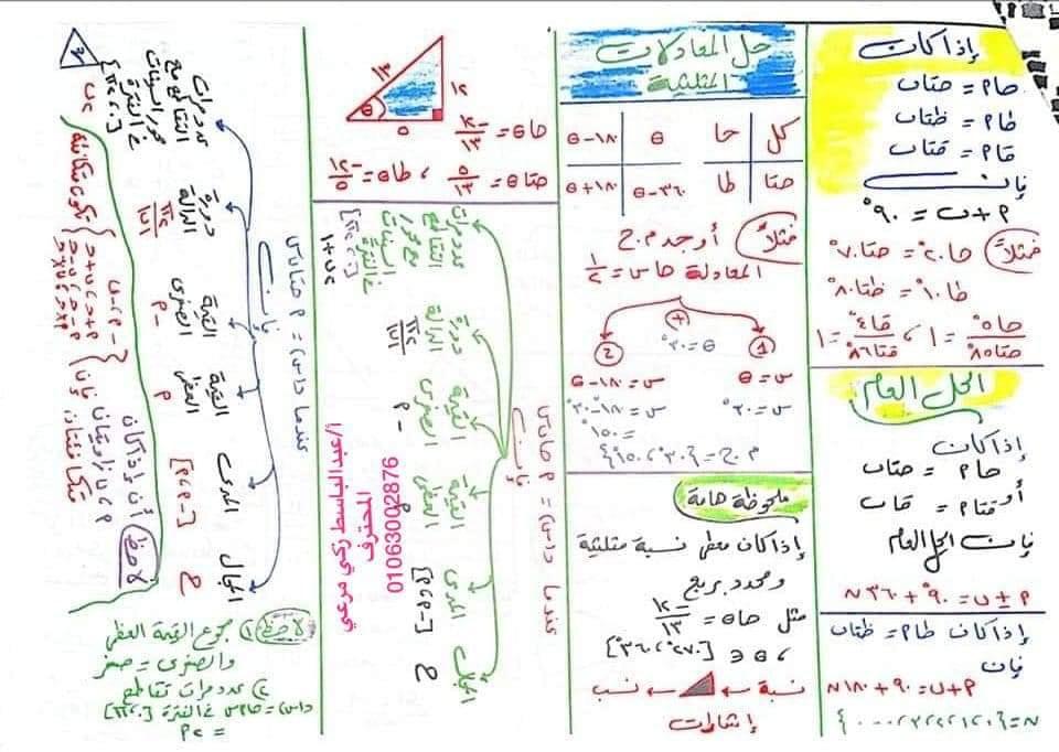 ملخص قوانين جبر وهندسه وحساب مثلثات أولى ثانوي .. مهمة جدا 31496