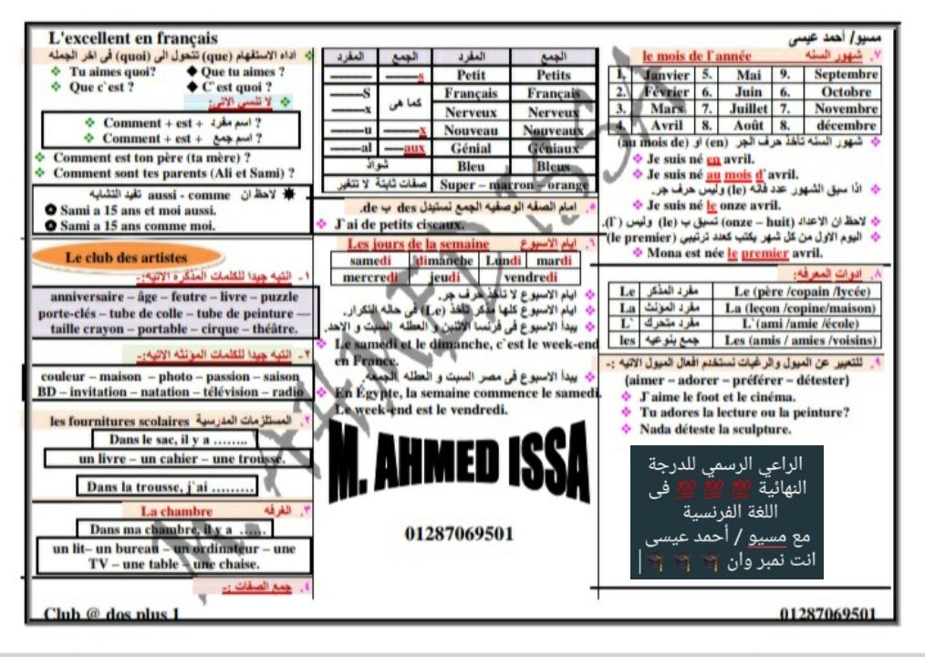 ٤ ورقات ملخص قواعد اللغة الفرنسية للصف الاول الثانوى ترم اول مسيو/ أحمد عيسى  31503