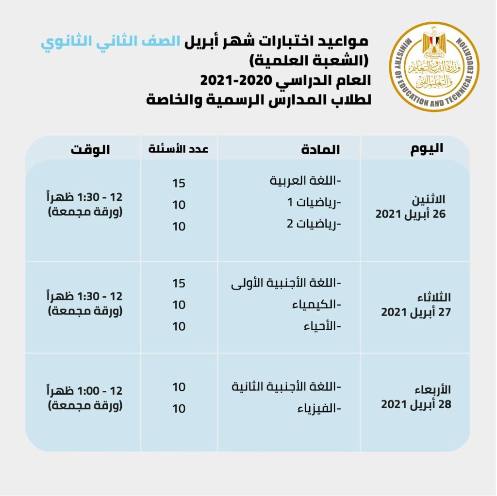 جدول امتحانات أبريل للصفين الأول والثاني الثانوي وعدد أسئلة امتحان كل مادة 31533