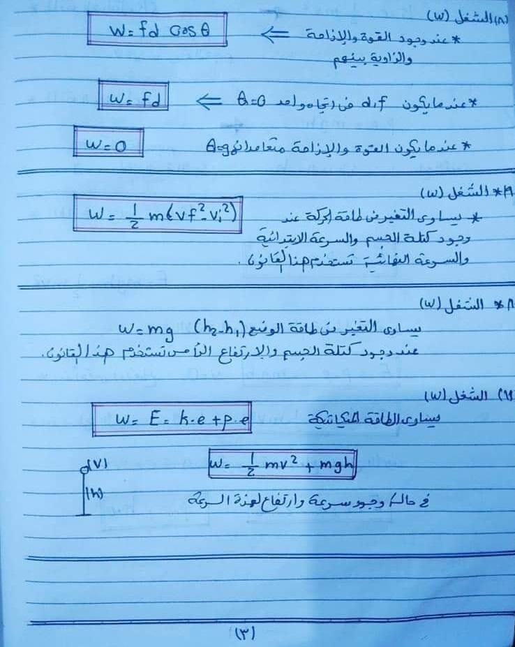 ملخص قوانين الفيزياء للصف الاول الثانوى ترم ثانى 31582