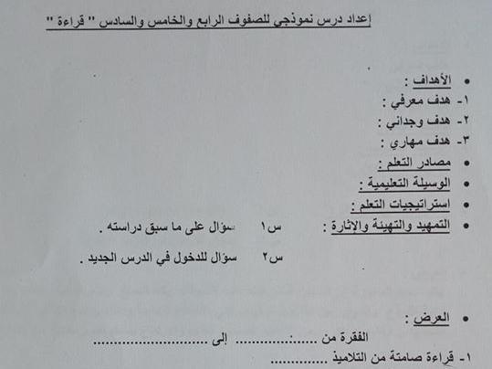 دليل اعداد درس نموذجى قراءة - نحو - محفوظات - املاء - خط - تعبير للصفوف الرابع والخامس والسادس الابتدائي  3287