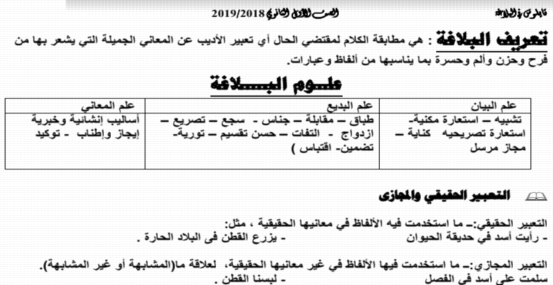 مذكرة البلاغة للصف الأول الثانوي ترم أول 2019 أ/ احمد الدرديري 3292