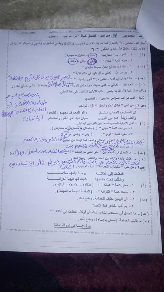 امتحان اللغة العربية للصف الاول الاعدادي ترم أول 2019 محافظة مطروح 3525