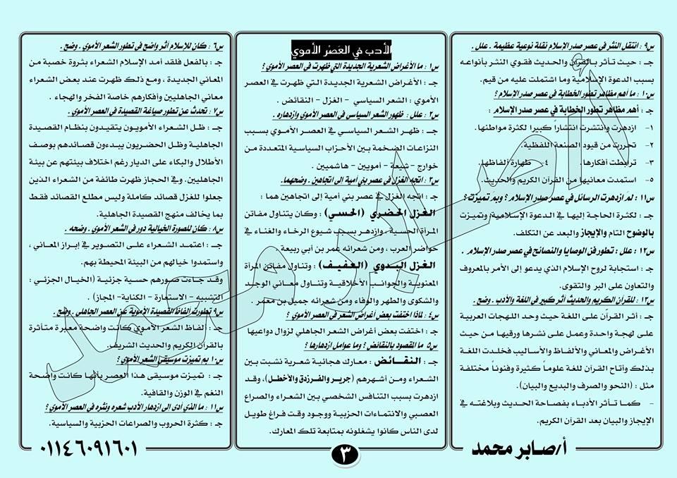 لطلاب أول الثانوي.. 4 ورقات فقط بهم 50% من امتحان اللغة العربية النظام الجديد أدب و نحو 3557