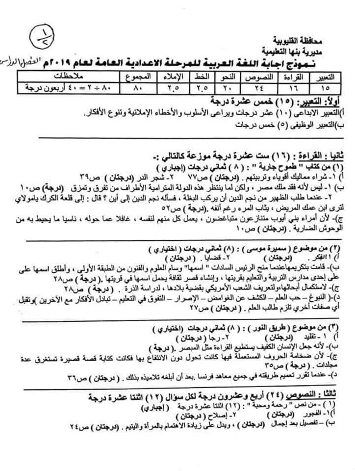 نموذج الاجابة الرسمي لامتحان اللغة العربية اعدادية القليوبية ترم أول 2019  3599