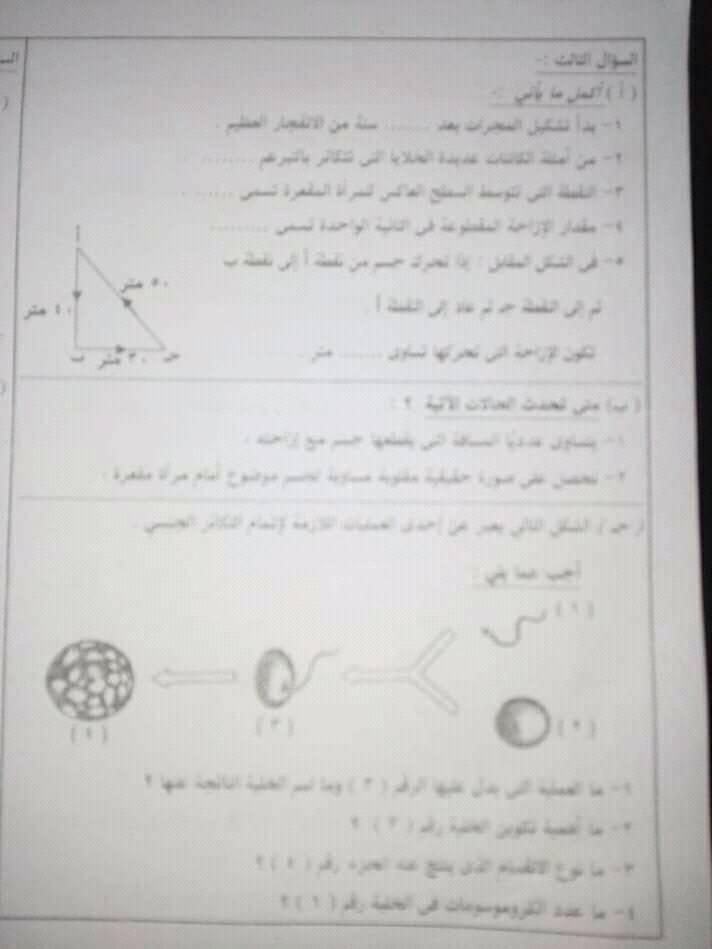 امتحان العلوم للصف الثالث الاعدادي ترم أول 2019 محافظة البحيرة 3608