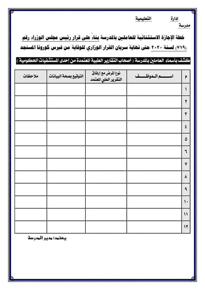 ثلاث نماذج للكشوف الخاصة بالإجازات الاستثنائية المطلوب تجهيزها من المدارس  379