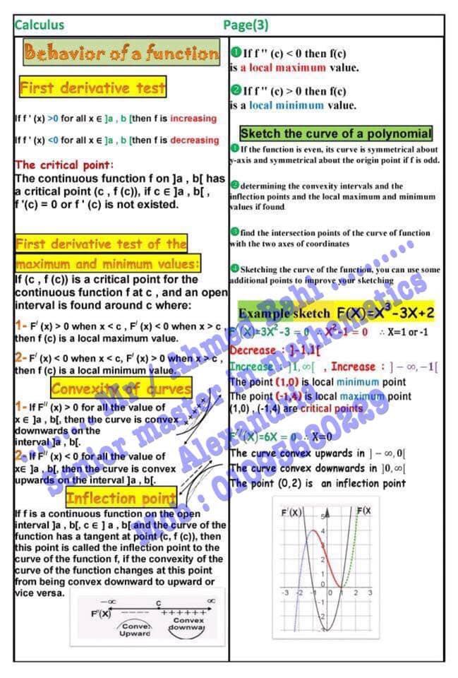 مراجعة قوانين Calculus للثانوية العامة لغات مستر/ أحمد باهي 3847