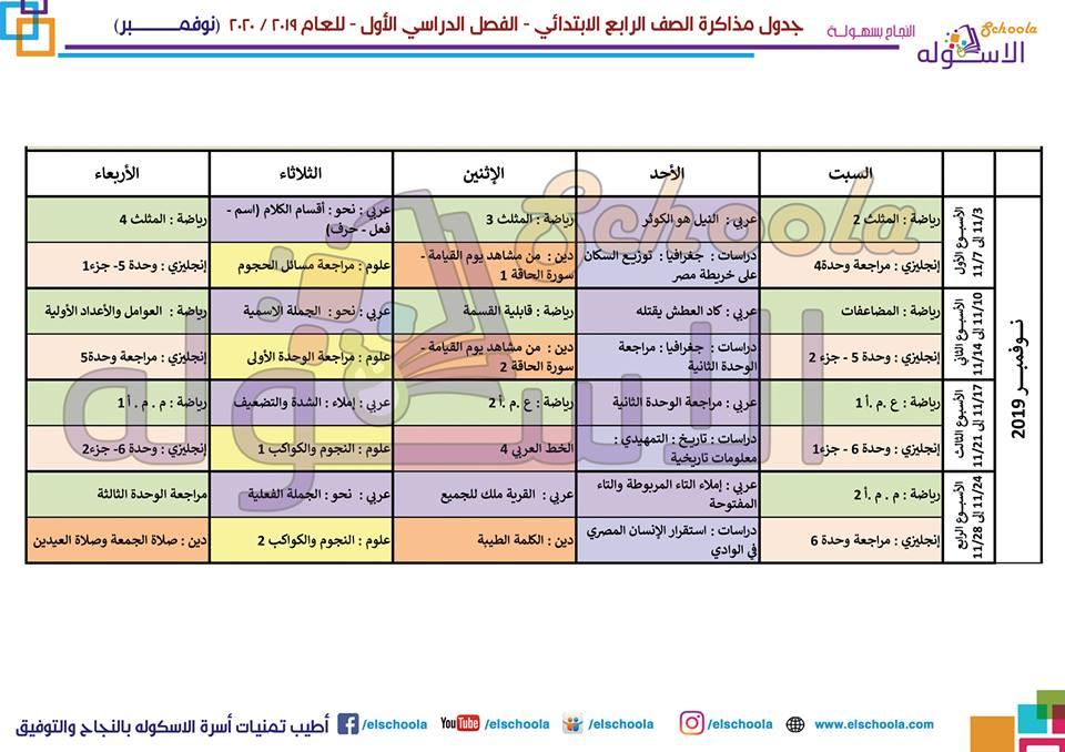 جدول مذاكرة الصف الرابع الابتدائي 2019 - 2020 3893