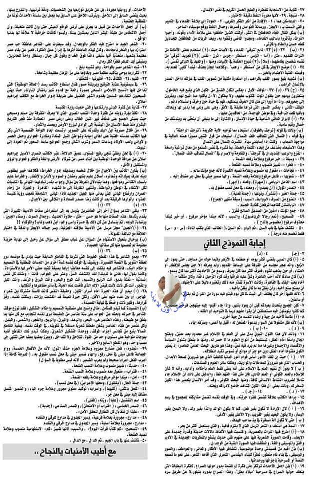نموذجان لامتحان لغة عربية الثانوية العامة بالاجابات 41084