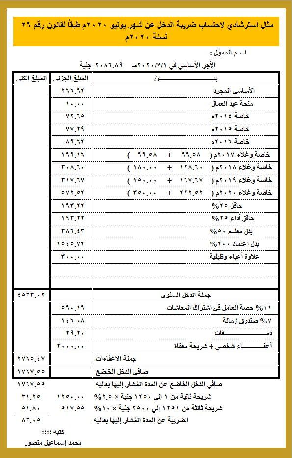 نموذج لاحتساب ضريبة الدخل على مرتب شهر يوليو 2020 لكبير معلمين ( الدرجة العالية ) 41091