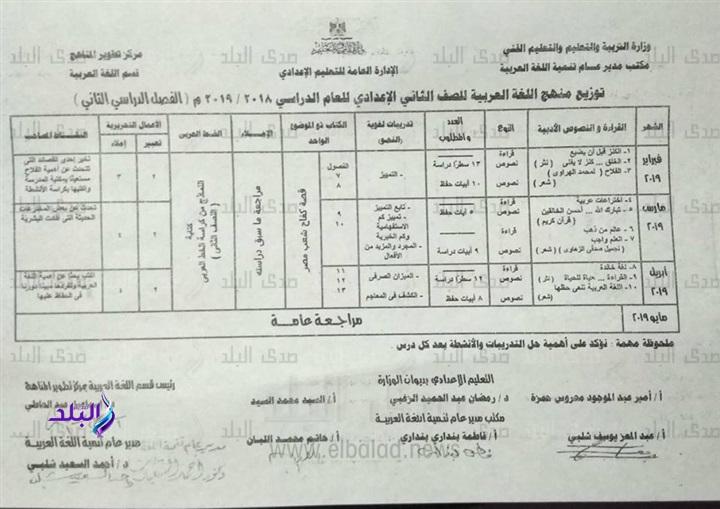 توزيع منهج اللغة العربية للصف الثاني الاعدادي ترم اول وثاني 2019 4139