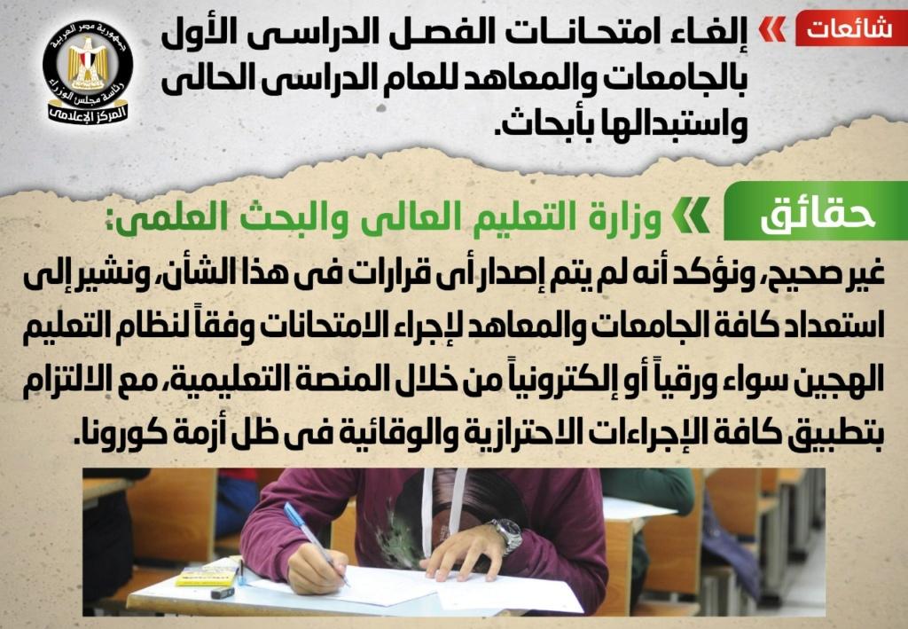 مجلس الوزراء ينفي إلغاء امتحانات الترم الأول واستبدالها بأبحاث 41475
