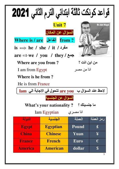 لغة انجليزية l  قواعد منهج كونكت ثالثة ابتدائي الترم الثاني 2021 41587