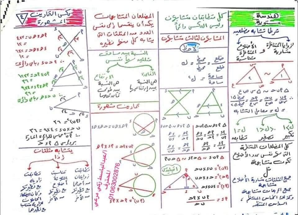 ملخص قوانين جبر وهندسه وحساب مثلثات أولى ثانوي .. مهمة جدا 41669