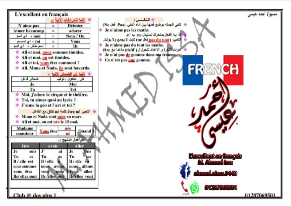 ٤ ورقات ملخص قواعد اللغة الفرنسية للصف الاول الثانوى ترم اول مسيو/ أحمد عيسى  41676