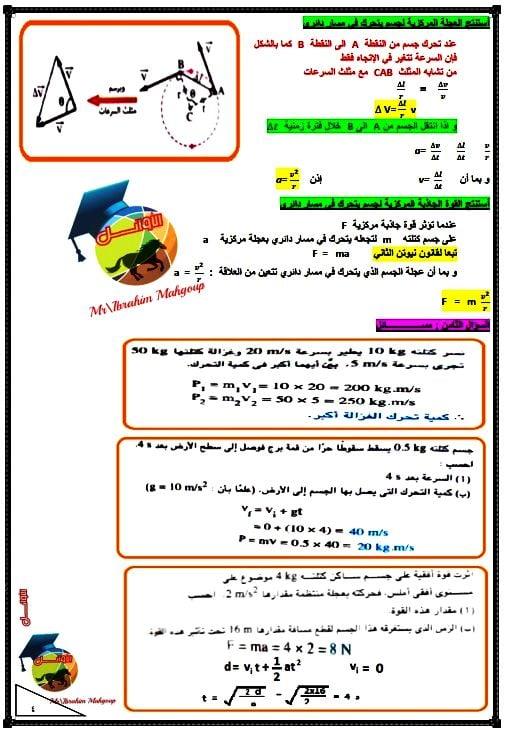 مراجعة ليلة الإمتحان في الفيزياء أولى ثانوي أزهري ترم ثاني 41700