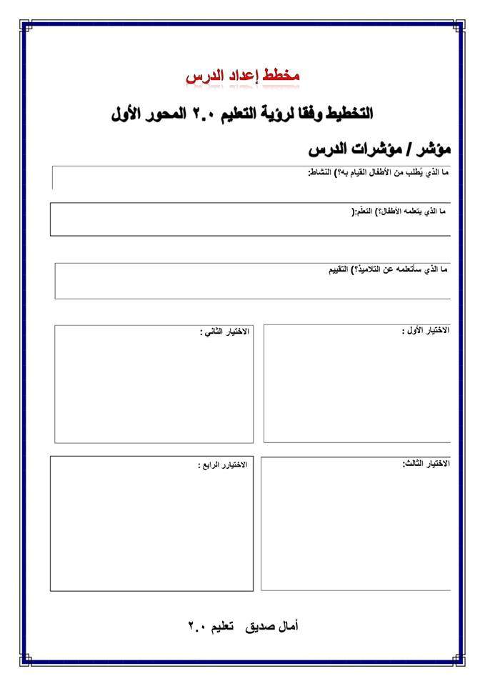 مخطط اعداد وتحضير درس علي المنهج متعدد التخصصات بنظام التعليم الجديد 2019 4193