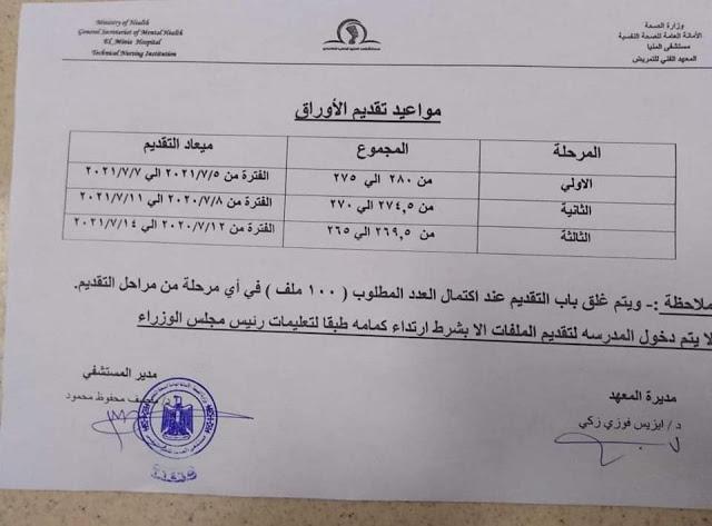 مستند    الشروط والأوراق المطلوبة وموعد التقديم لمدارس التمريض بمحافظة المنيا 4277