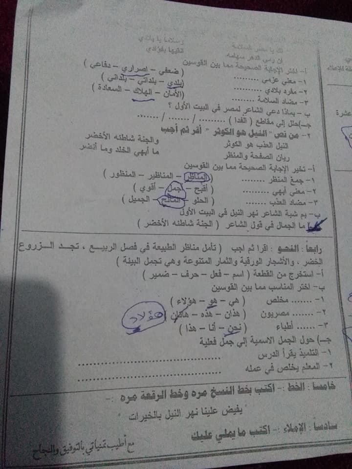 امتحان اللغة العربية للصف الرابع الابتدائي ترم أول 2019 إدارة المعصرة التعليمية  4378