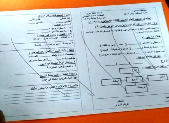 امتحان اللغة العربية للصف الثالث الابتدائي ترم أول 2019 إدارة البساتين ودار السلام التعليمية 4379