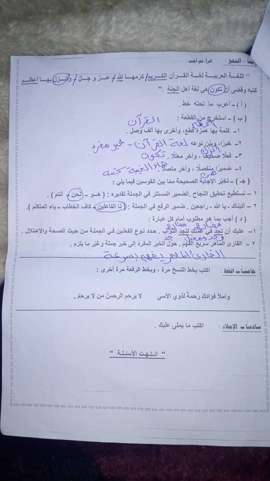 امتحان اللغة العربية للصف الاول الاعدادي ترم أول 2019 محافظة مطروح 4387