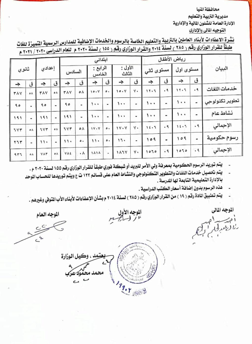 نشرة المصروفات للمدارس الرسمية المتميزة للغات بعد الخصم لأبناء العاملين في التربية والتعليم 441114
