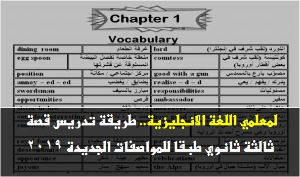 لمعلمي اللغة الانجليزية.. طريقة تدريس قصة ثالثة ثانوي طبقا للمواصفات الجديدة 2019 449