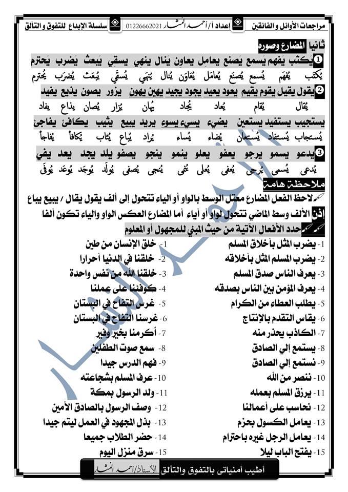 ملاحظات نحوية هامة للصف الاول الاعدادي أ/ احمد النشار 45106
