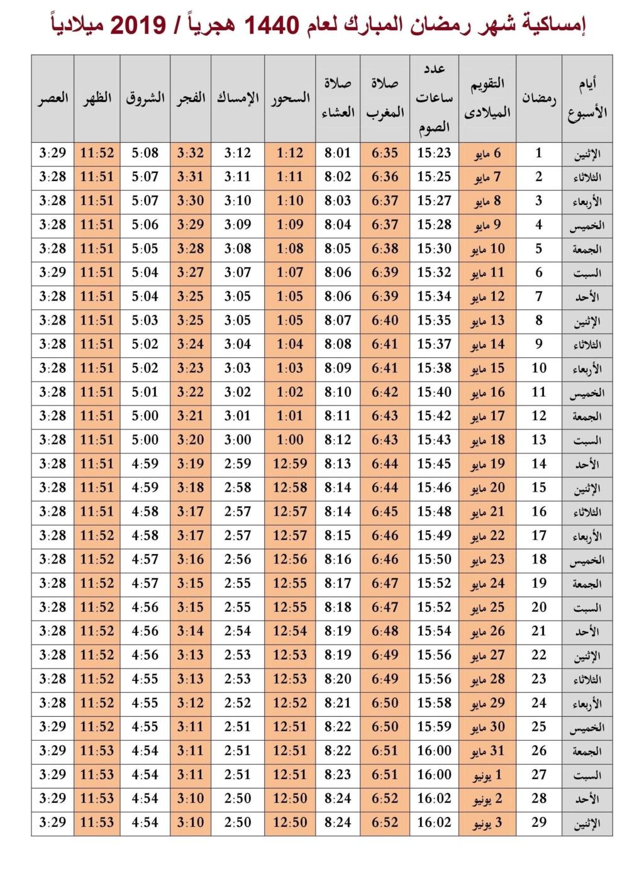 إمساكية شهر رمضان الكريم لسنة 1440 هجرياً - 2019 ميلادياً 4536