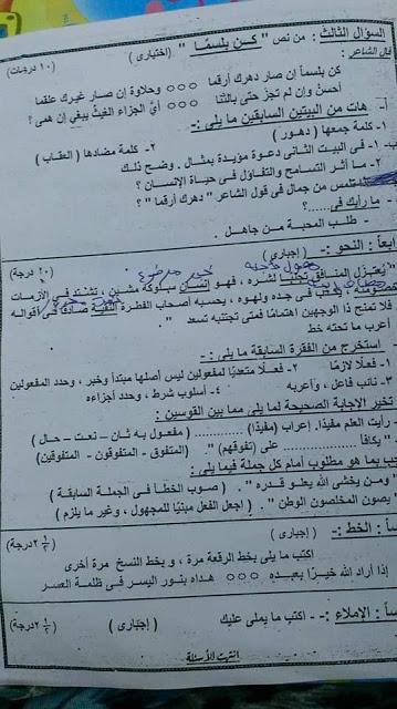 امتحان اللغة العربية للصف الأول الاعدادي ترم ثاني 2019 محافظة بورسعيد 4589