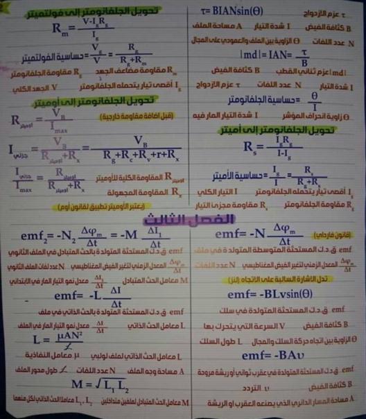 مراجعة كل قوانين الفيزياء للصف الثالث الثانوي في 4 ورقات تحفة أ/ محمد عبد المعبود 4592