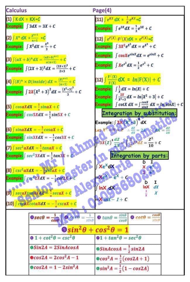 مراجعة قوانين Calculus للثانوية العامة لغات مستر/ أحمد باهي 4709
