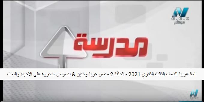 شرح لغة عربية الثانوية العامة نظام جديد فيديو / الحلقة 2  نص غربة وحنين / نصوص متحررة على الاحياء والبعث 474