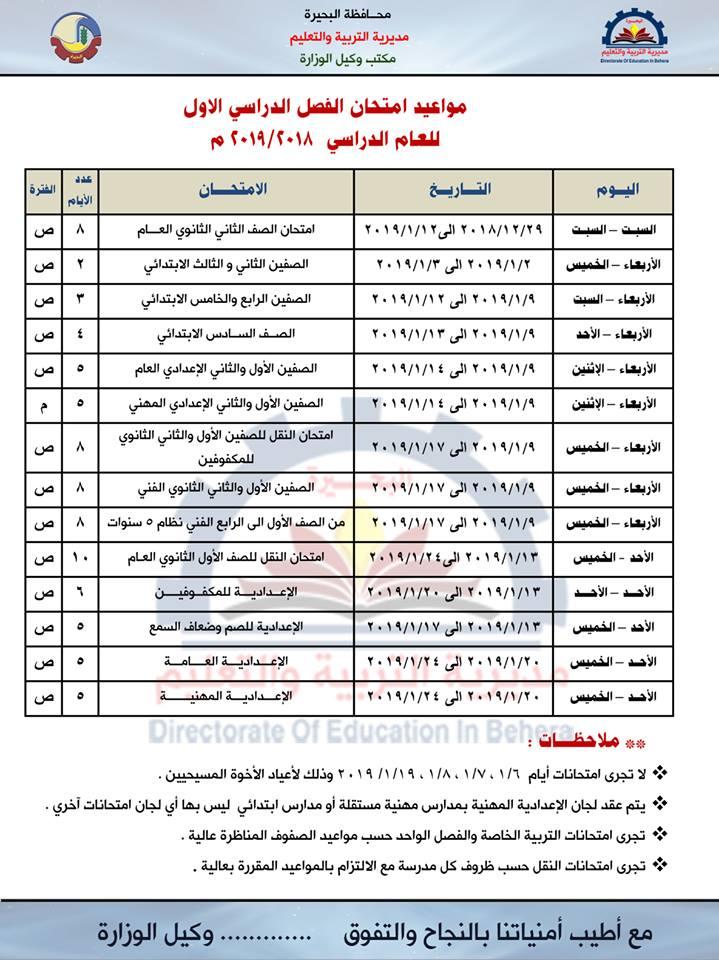 مواعيد امتحانات الترم الأول 2019 لمحافظة البحيرة  47463210